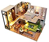 KISSTAKER Dollhouse Kit DIY Miniature Wooden Handmade House Furnished with Accessories with Music Chip & Assemble Tool Northern Europe