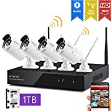[Audio Compatible] xmartO Wireless Security Camera System 4CH 1080p HD NVR with 4pcs 960p HD Indoor/Outdoor WiFi Cameras and 1TB HDD, Plug and Play, Easy Remote View & Playback, 80ft IR Night Vision