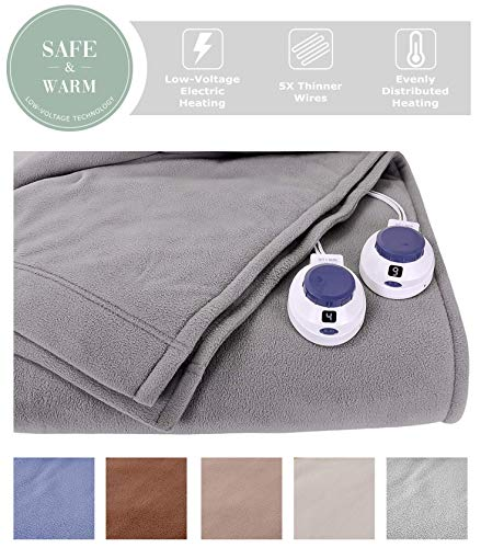 SoftHeat by Perfect Fit | Luxury Fleece Electric Heated Blanket with Safe & Warm Low-Voltage Technology (King, Gray)