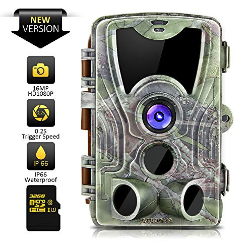 Crenova Trail Camera,32GB SD Card Included,Max up to 64GB, Updated 42pcs 940nm IR LEDs,16MP 1080P HD,IP66 Waterproof Game Camera,Motion Activated Night Vision,Perfect for Wildlife Observation