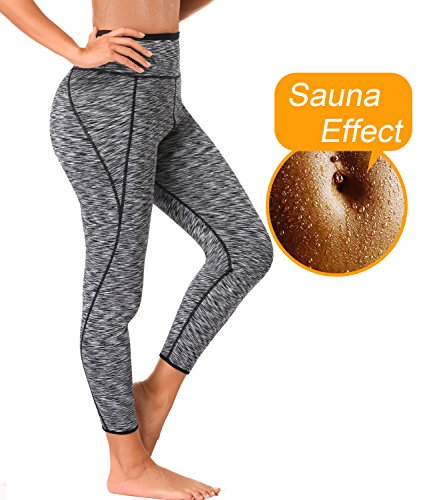 LAZAWG Women High Waist Trainer Sauna Pants Slimming Yoga Capris Neoprene Sweat Leggings for Weight Loss