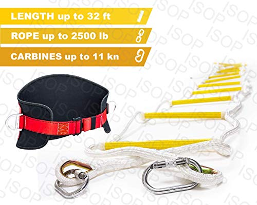 ISOP Emergency Fire Escape Rope ladder 3 - 4 Story Homes 32 ft Flame Resistant Fire Safety Ladders with Hooks & Safety Belt - Fast Deploy & Simple To Use - Portable, Compact & Easy to Store- Reusable