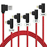 Certified Lightning Cable,iPhone Charger 5 Pack(0.7FT/3FT/3FT/6FT/10FT) Extra Long Nylon Braided USB Charging&Syncing Cord Compatible with iPhone Xs/XR/XS Max/X/7/7Plus/8/8Plus/6S/6SPlus/5se/5s/5