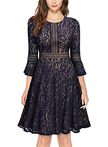 51Ib7Nr8zDL Knee Length,Back Zipper,Flare Sleeve Retro Elegant Full Lace Overlay Big Swing Style Suit for Evening,Cocktail,Wedding Party and Business Occasion
