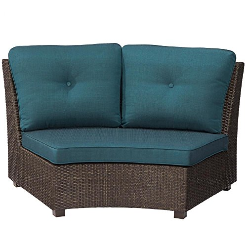 Hampton Bay Torquay Wicker Armless Middle Outdoor Sectional Chair with Charleston Cushion