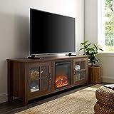 WE Furniture Fireplace TV Stand, 70', Dark Walnut
