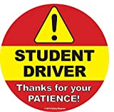 Student Driver Sign (Designed by Safety Magnets Plus) - Non-Magnetic Inside Car Window Static Cling Decal - 6 x 6 in. - Easy to Remove and Reposition & Won't Fall Off