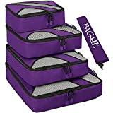 BAGAIL 4 Set Packing Cubes,Travel Luggage Packing Organizers with Laundry Bag Purple