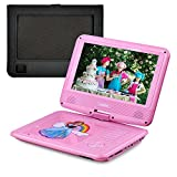 UEME 9' Portable DVD Player with Swivel Screen, Car Headrest Mount Holder, Remote Control, SD Card Slot and USB Port, Personal DVD Player PD-0093 (Pink)