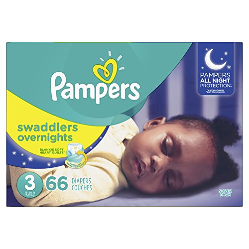 Diapers Size 3, 66 Count – Pampers Swaddlers Overnights Disposable Baby Diapers, Super Pack (Packaging May Vary)