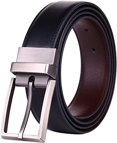 Beltox Fine Men's Dress Belt Leather Reversible 1.25' Wide Rotated Buckle Gift Box (Black/Brown,32-34)