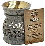 Crafkart 4 Inches Natural Stone Tea Light Holder, Aromatherapy Essential Oil Warmer Burner Candle Holder Diffuser Home Decorative Spa Yoga Meditation - Floral