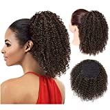 Vigorous Afro Ponytail Kinky Curly Drawstring Ponytail Synthetic Clip in Hair Extensions for African Americans Natural Hair Curly Ponytail for Women(4#)