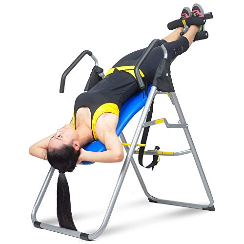 HYD-Parts Inversion Table Back Therapy Fitness Back Pain Relief, Adjustable Folding Therapy Back Inversion Table for Home Exercise (Blue&Black)