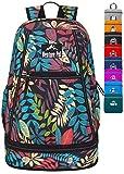 Venture Pal 35L Large Lightweight Packable Hiking Backpack with Wet Pocket & Shoes Compartment Travel Backpack & Day Backpack for Women Mens(Black Leaf)