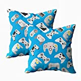 TOMKEY Decorative Throw Pillows, 2 Packs Hidden Zippered 18X18Inch Video Game Controller Background Gadgets Pattern Decorative Throw Cotton Pillow Case Cushion Cover for Home Decor,Blue White