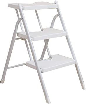 Amazon Com Folding 3 Step Ladder Step Stool Lightweight Stepladder Large Steps Provide Comfort And Security Folds Flat For Easy Storage Safety 220 Lbs 100kg Color White Furniture Decor