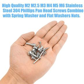 DYWISHKEY-480-PCS-M2-M25-M3-M4-M5-M6-304-Stainless-Steel-Phillips-Pan-Head-Screws-Combine-with-Spring-Washer-and-Flat-Washers-Nuts-Assortment-Kit