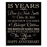 LifeSong Milestones Personalized 15 Year for Couple, 15th Wedding Gift Ideas for Her and him,Custom Engraved Established Family Dates Sign (Black Maple Solid Wood)