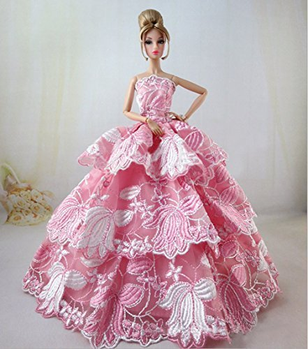 Lovely Fancy Gowns Wedding Evening Party Ball Dress for Barbie Doll