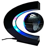 CEStore C Shape Magnetic Levitation Floating World Map Globe Rotating Mysteriously Suspended in Air with LED Lights for Learning/Teaching Demo Home Office Desk Decoration Christmas Gift (Black)