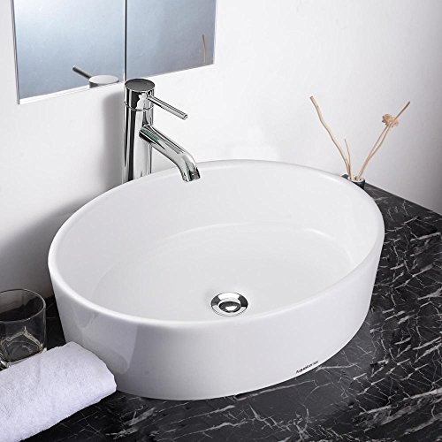 "Aquaterior 19-2/3""x14-1/6""x5-1/3"" Oval White Porcelain Ceramic Bathroom Sink w/Free Chrome Drain"