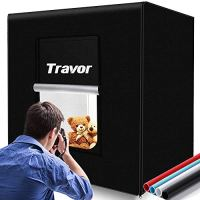 Travor Photo Light Box Kit 32x32Inch Dimmable Photo Studio Professional Shooting Tent with LED Lights, 4 Backdrops…
