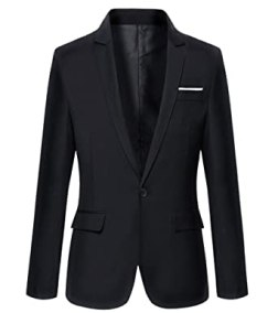 Image result for Benibos Mens Slim Fit Casual One Button Blazer Jacket