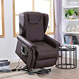 Infurnise Electric Brown PU Lift Chair Living Room Bedroom Heated Massage Sofa Lounge, Elder People Recliner with Remote Control
