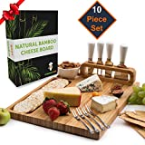 Cheese Board Set, Cheese Tray, Charcuterie Board: includes 4 Cheese Knives with White Ceramic Handles, 4 Stainless Steel Cheese Forks, Plus Ceramic Bowl, Large Size 14' x 11, Ideal Wedding Gifts