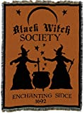 Pure Country Weavers | Black Witch Society Halloween Woven Tapestry Throw Blanket with Fringe Cotton USA 72x54