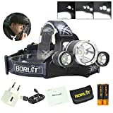 BORUIT RJ-3000 Plus 3x XM-L T6 LED Micro USB Rechargeable Headlamp 18650 PCB Batteries