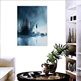 familytaste Horror House Fashion Stickers for Wall Mysterious Women in Foggy Forest Bushes Nightmare Haze Lady Scary Hell Work of Art Stickers for Wall Home 16'x24' Blue