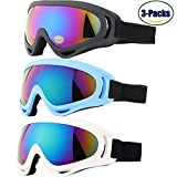 Ski Goggles, Yidomto Pack of 3 Snowboard Goggles for Kids,Boys,Girls,Youth, Mens,Womens,with UV Protection,Windproof,Anti Glare(Black/White/Blue)