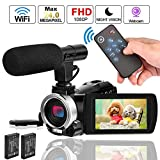 Camcorder Video Camera,Weton WiFi Vlogging Camera for YouTube Digital Camera Camcorder with Microphone Full HD 1080P 24.0MP 30 FPS IR Night Vision Camera 16X Digital Zoom Recorder,2 Batteries