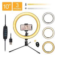 "LED 10.2"" Desktop Selfie Ring Light with Tripod Stand & Remote Control &10 Brightness Level & 3 Light Modes and 120 Bulbs 6500k for YouTube Video/Live Stream/Makeup/Photography for iPhone Android"