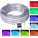 16.4 Feet Flat Flexible LED Rope Lights, Color Changing RGB Strip Light with Remote Control, 8 Colors Multiple Modes, Plug in Novelty Light, Connectable and Waterproof for Home Kitchen Outdoor Use