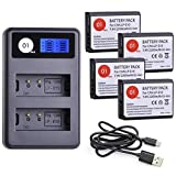 LP-E10 DOT-01 Brand Replacement for Canon LP E10 Batteries and Smart LCD Display Dual Charger Compatible with Canon EOS Rebel T3, T7, 1100D, 3000D, Kiss X50, X90 and More(4-Pack, 2000mAh, 7.4V)