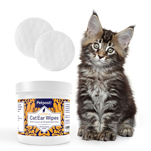 Petpost Cat Ear Cleaner Wipes - 100 Ultra Soft Cotton Pads in Coconut Oil Treatment - Cat Ear Mites & Cat Ear Infections