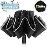 Bodyguard Inverted Windproof Travel Umbrella, 12 Ribs Reverse Auto Open and Close Umbrella with Reflective Stripe, Upside Down Double-Use Umbrella in Rain & Sun with Leather Cover for Women and Men
