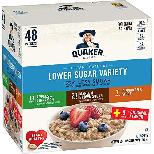 Quaker Instant Oatmeal, Lower Sugar, Variety Pack, Breakfast Cereal, 48Count