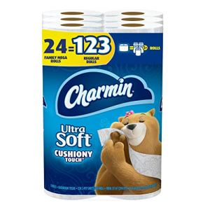 Charmin Ultra Soft Cushiony Touch Toilet Paper, 24 Family Mega Rolls = 123 Regular Rolls 51IzE7DU5sL