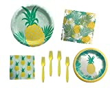 Fresh Pineapple Spring or Summer Party Supply Bundle for 16 Guests - Includes Plates, Napkins and Forks