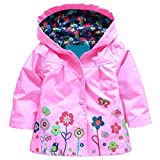 Arshiner Girl Baby Kid Waterproof Hooded Coat Jacket Outwear Raincoat Hoodies 2-9 Y,Pink,120(Age for 4-5Y)