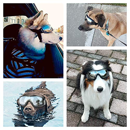 PEDOMUS Dog Sunglasses Dog Goggles Adjustable Strap for Travel Skiing and Anti-Fog Dog Snow Goggles Pet Goggles for Medium to Large Dog 2