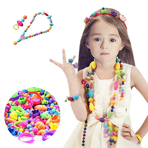 Halffle 70/260Pcs DIY Pop Beads Necklace Bracelet Rings Set Art Crafts Pop Snap Beads Set Creative Arts and Crafts Gifts for Kids (70 Pcs)