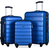 Merax 3 Pcs Luggage Set Expandable Hardside Lightweight Spinner Suitcase (Blue Color)