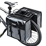 femor Bike Pannier Bags Waterproof Bicycle Grocery Panniers, 40L Double Bike Saddle Bag with Adjustable Straps, Best Mountain Road Bike Trunk Bag, Black