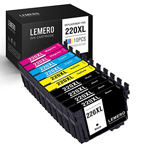 LEMERO Remanufactured Ink Cartridge Replacement for Epson T220XL ( Black,Cyan,Magenta,Yellow , 10-Pack)
