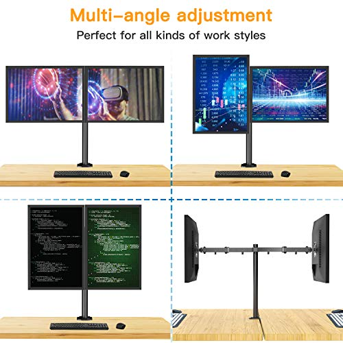 51J3aL7ipnL - HUANUO Dual Monitor Mount, Fully Adjustable for Two 13 to 27 inch LCD LED Screens, 2 Mounting Options, VESA 75/100